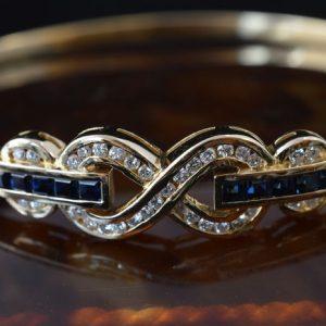 Armband met diamant en saffier