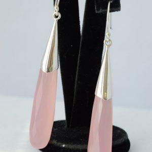 Druppeloorbellen met roze kwarts