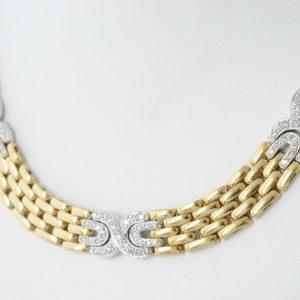 Gouden diamanten ketting cartier stijl