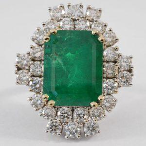 Ring met Colombiaanse smaragd en diamant