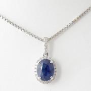 Witgoud hanger saffier diamant