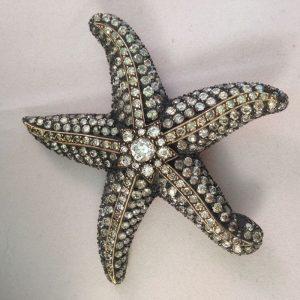 Antieke Zeester broche met diamanten
