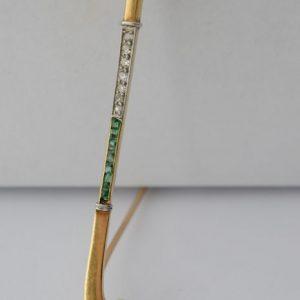 Geelgouden Hockeystick broche