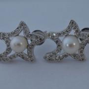 Ster oorbellen met parel en diamant