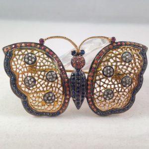 Vlinder broche met edelstenen