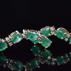 smaragd oorbellen met diamant